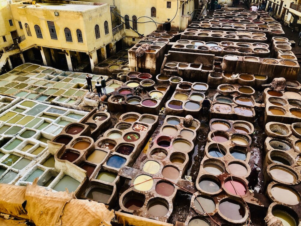 Leather tannery in the Fez medina.