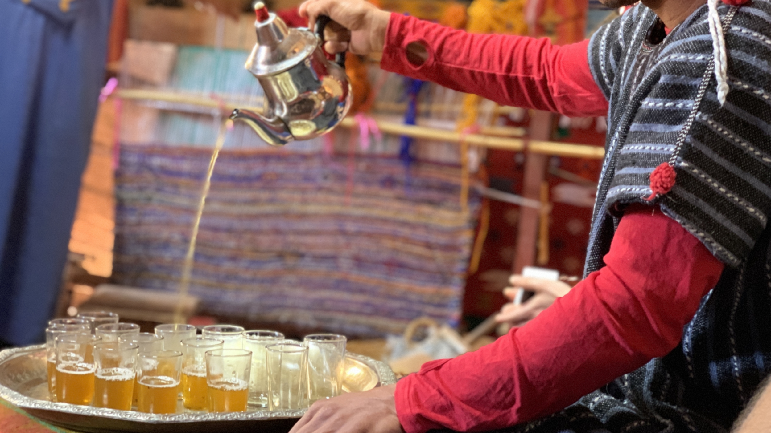 Serving mint tea is a part of traditional Moroccan cuisine.