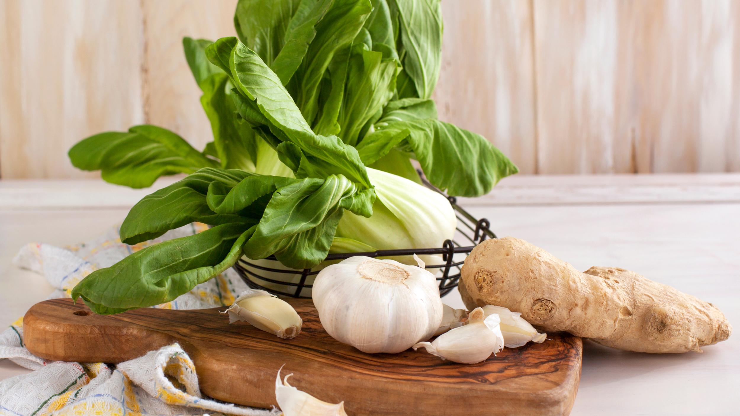 Ingredients to prep for the healthy ramen soup, Hanoi Ramen.