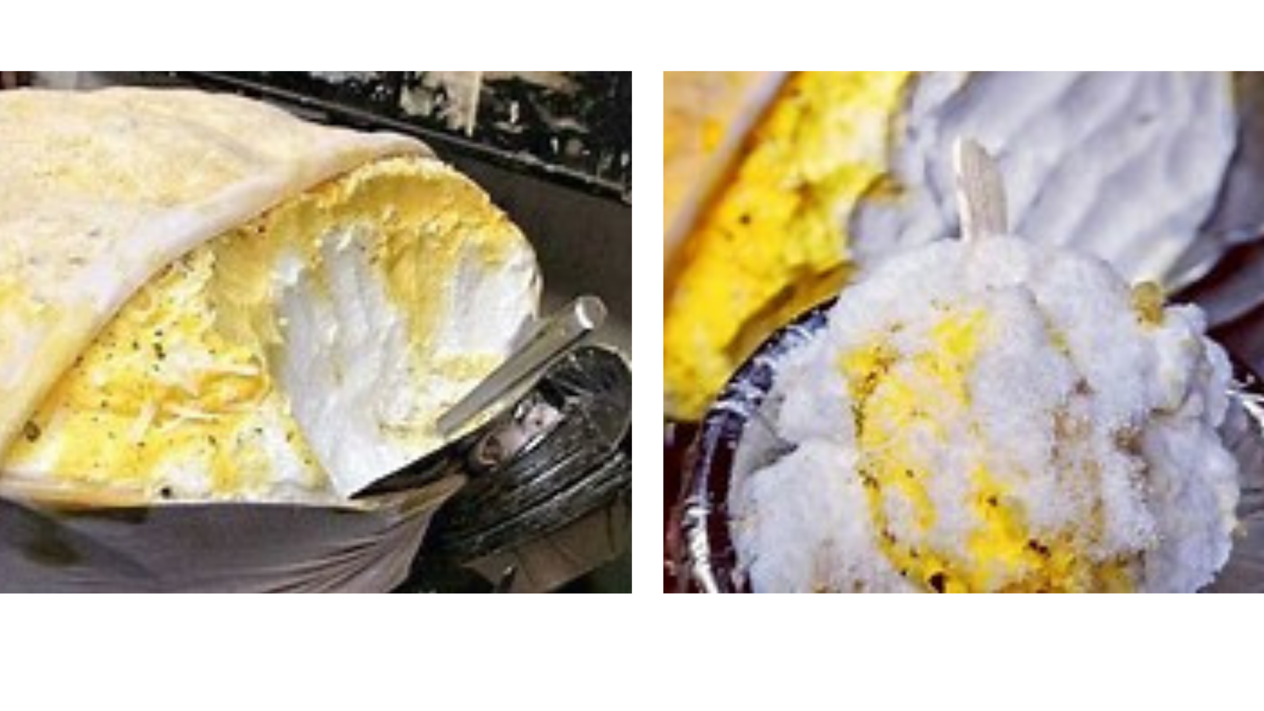 The Indian dessert, Daulat ki Chaat,are scooped out to make Individual portions.
