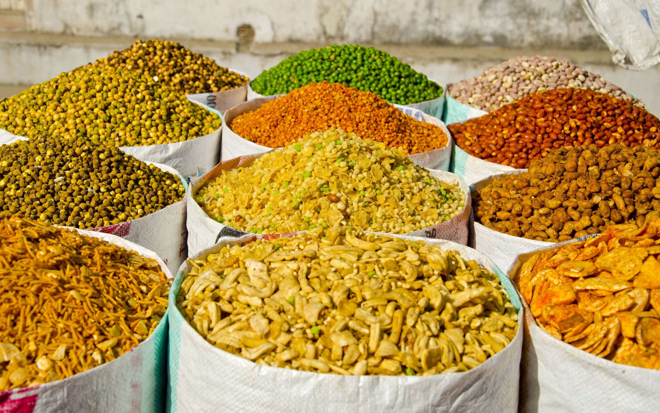 Indian spices sold at New Delhi street food market.