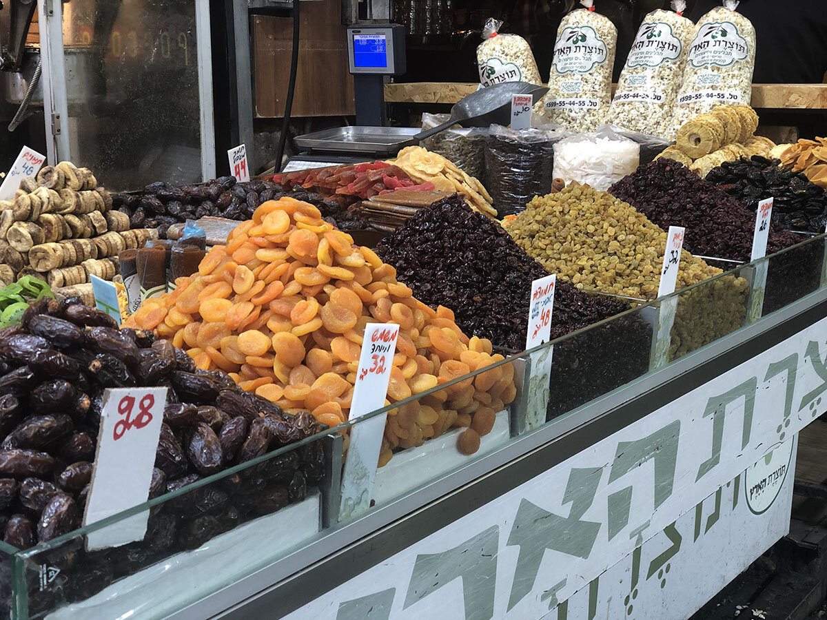 In addition to Israeli street food, dried fruits are a common Israeli food to see at the Jerusalem market.