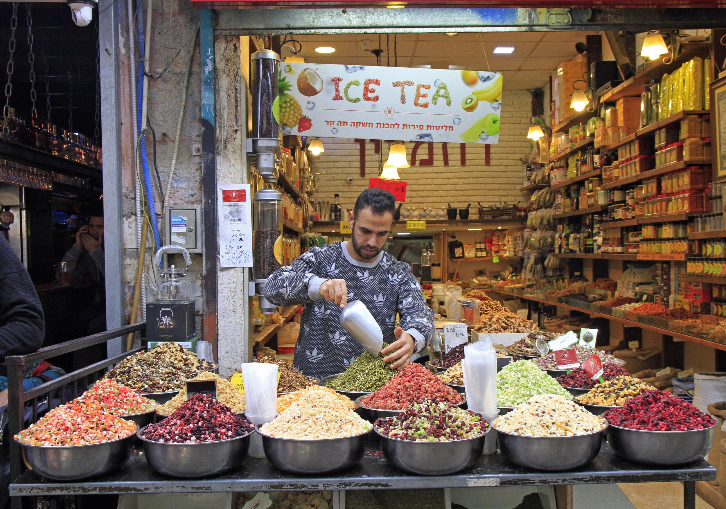 Tea vendor at Mahane Yehuda market in Jerusalem.