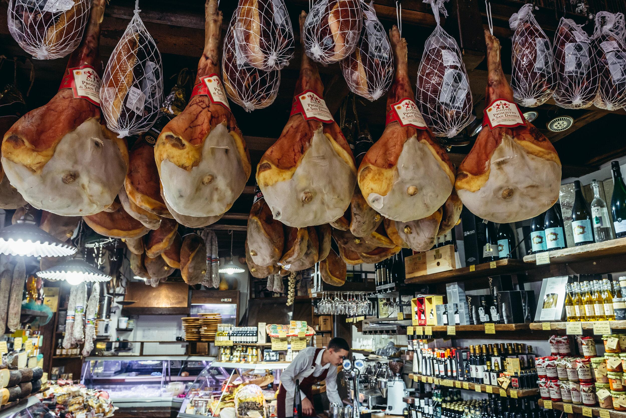 Bologna salumeria shop in the Mercato Di Mezzo with Emilia-Romagna food products.