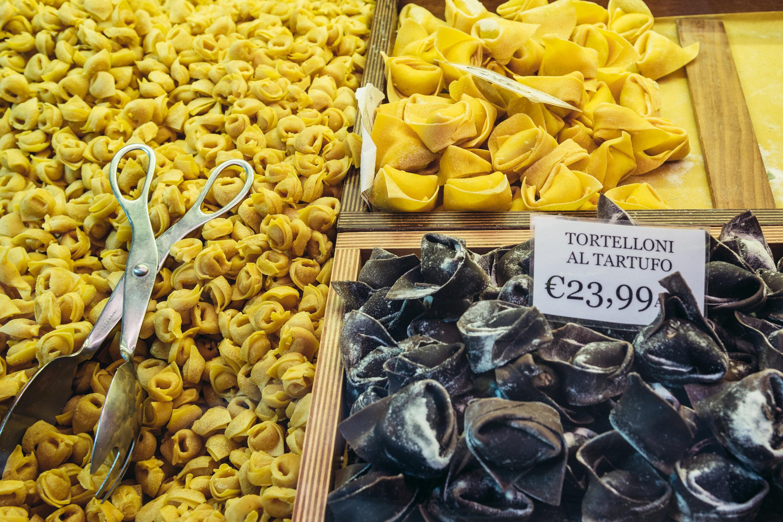 Freshly made regional Emilia-Romagna pastas.