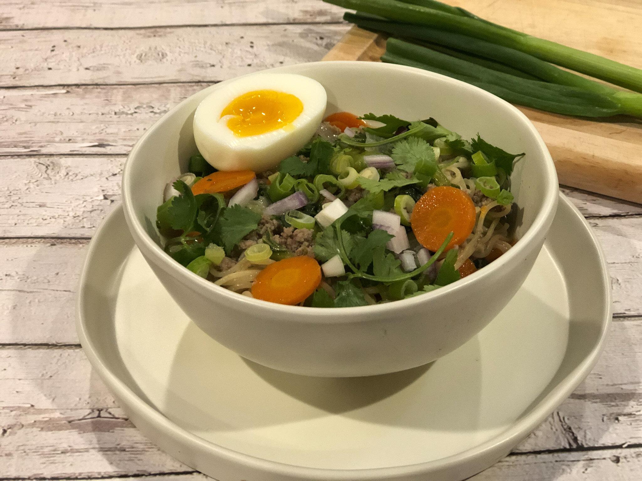 A bowl of the healthy ramen soup, Hanoi Ramen.