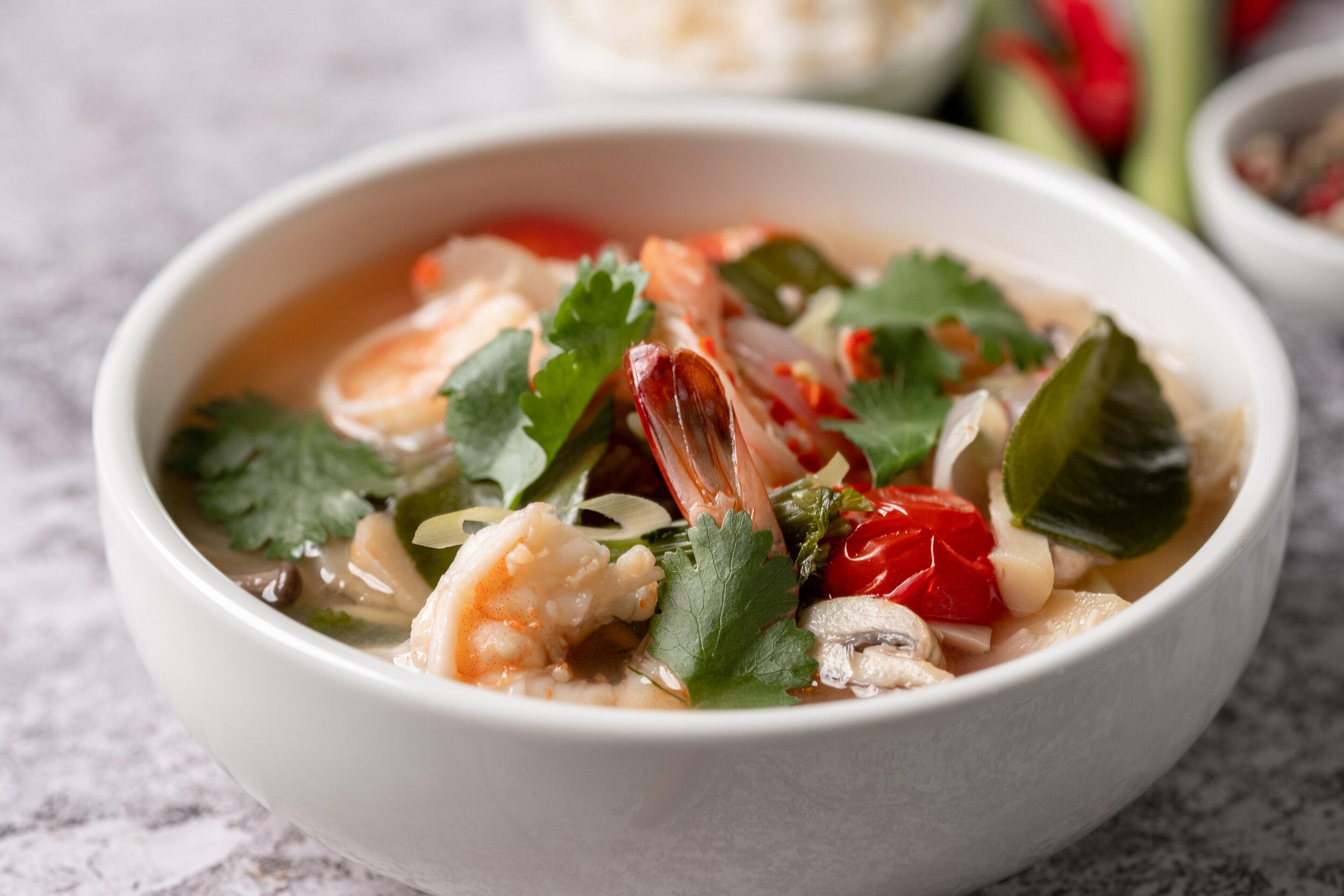 Tom Yam Prawn Soup, a signature Thai dish.