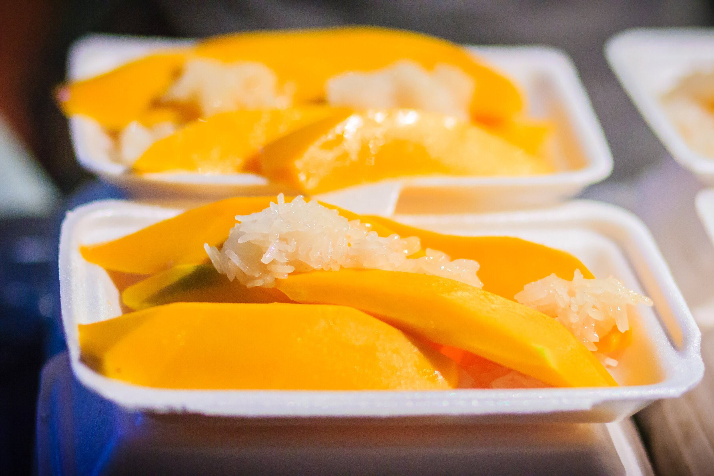 Mango Sticky Rice, a sweet food in Bangkok.
