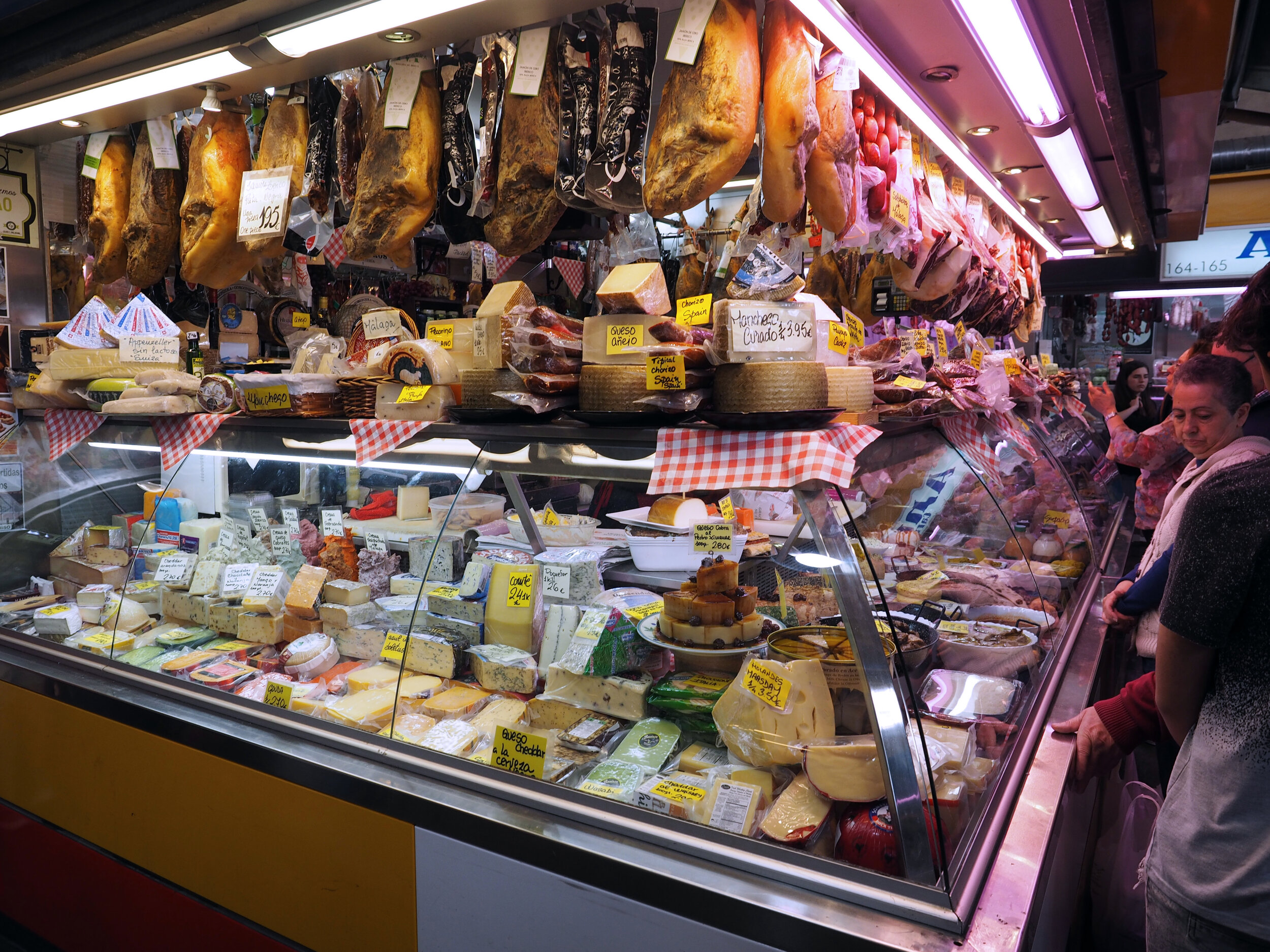 Salchichón de Málaga and Spanish charcuterie at the Malaga market