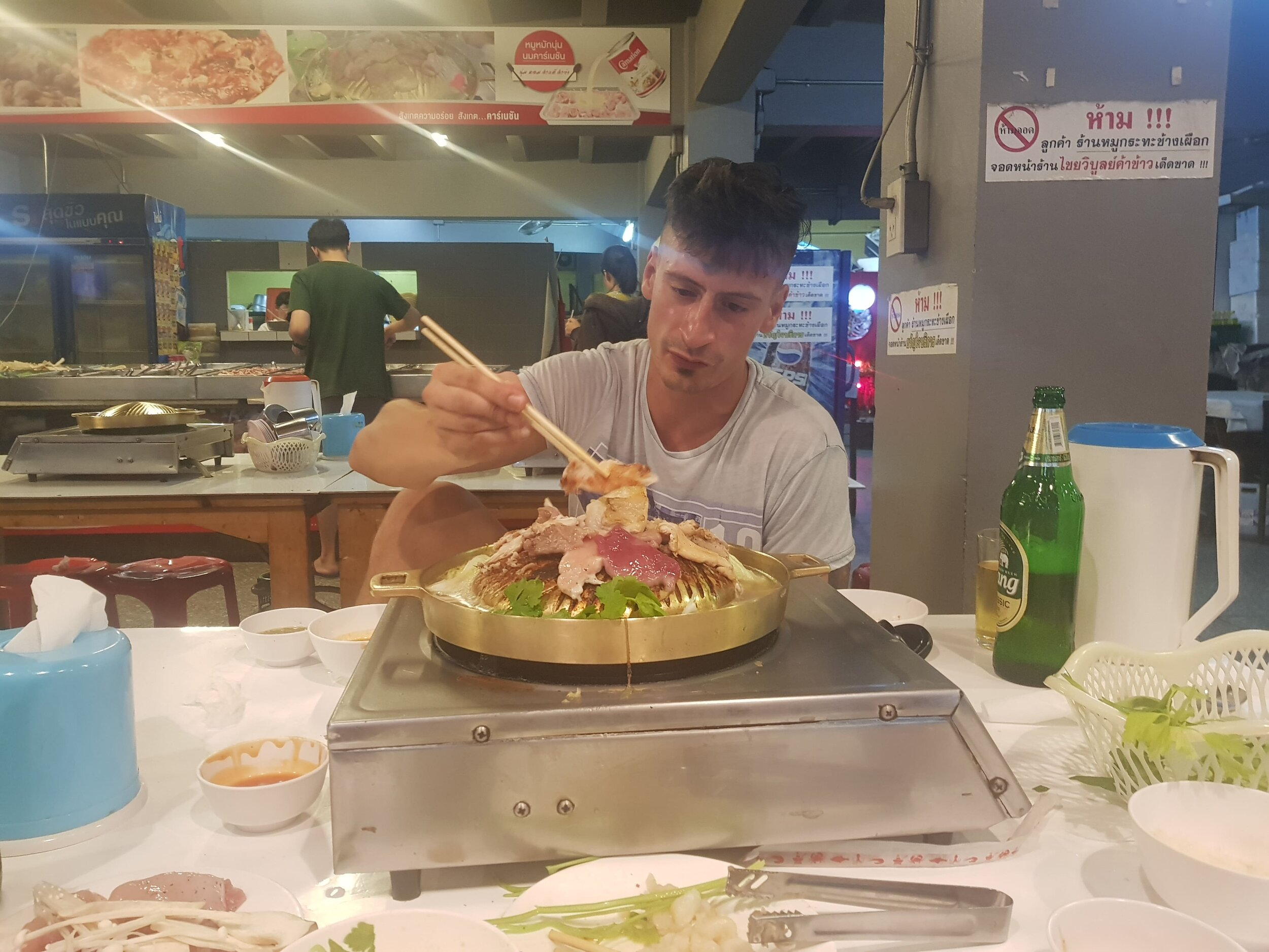 Author eating in Chiang Mai.