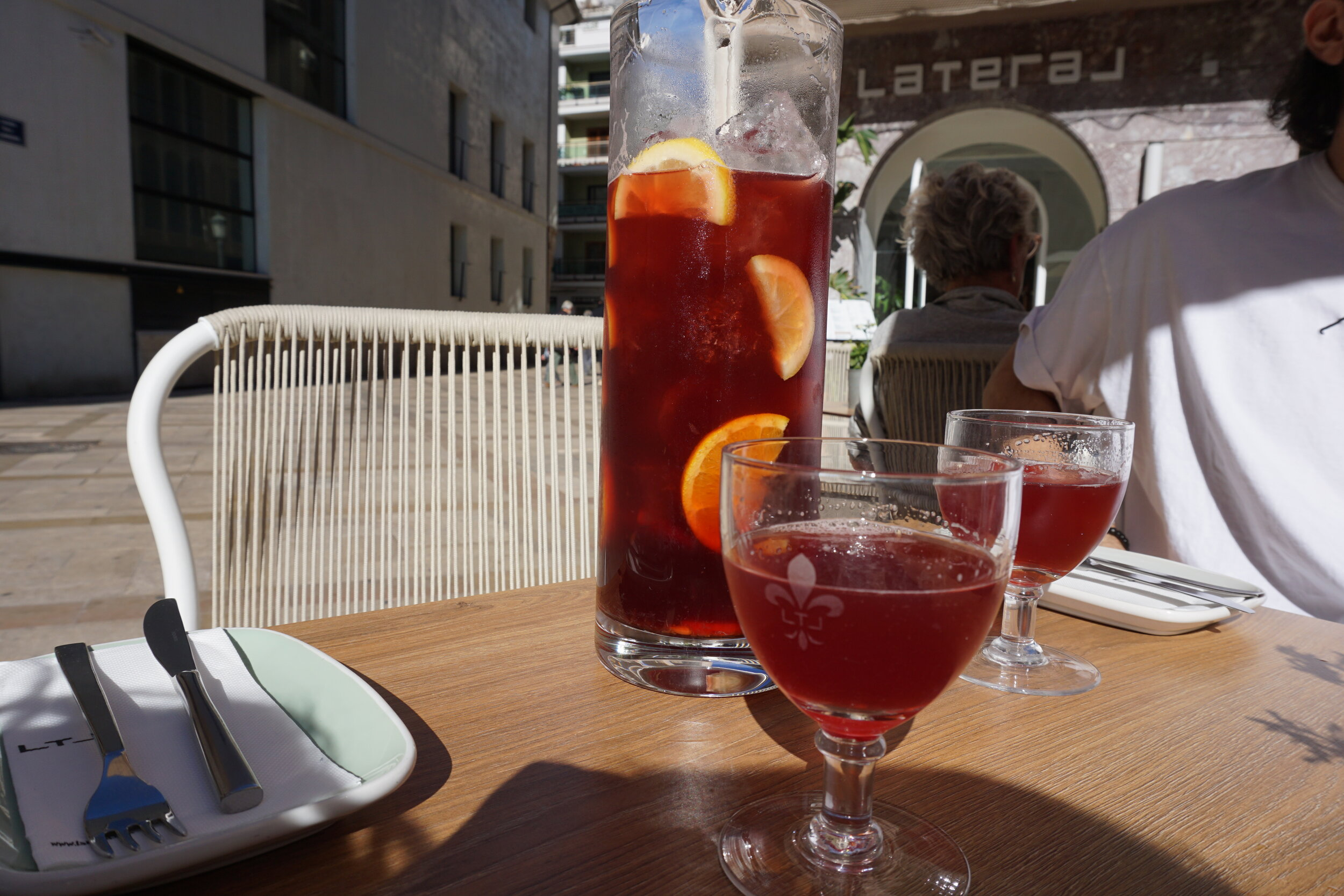 Sangria, the famous Spanish wine drink goes well with the food in Valencia.