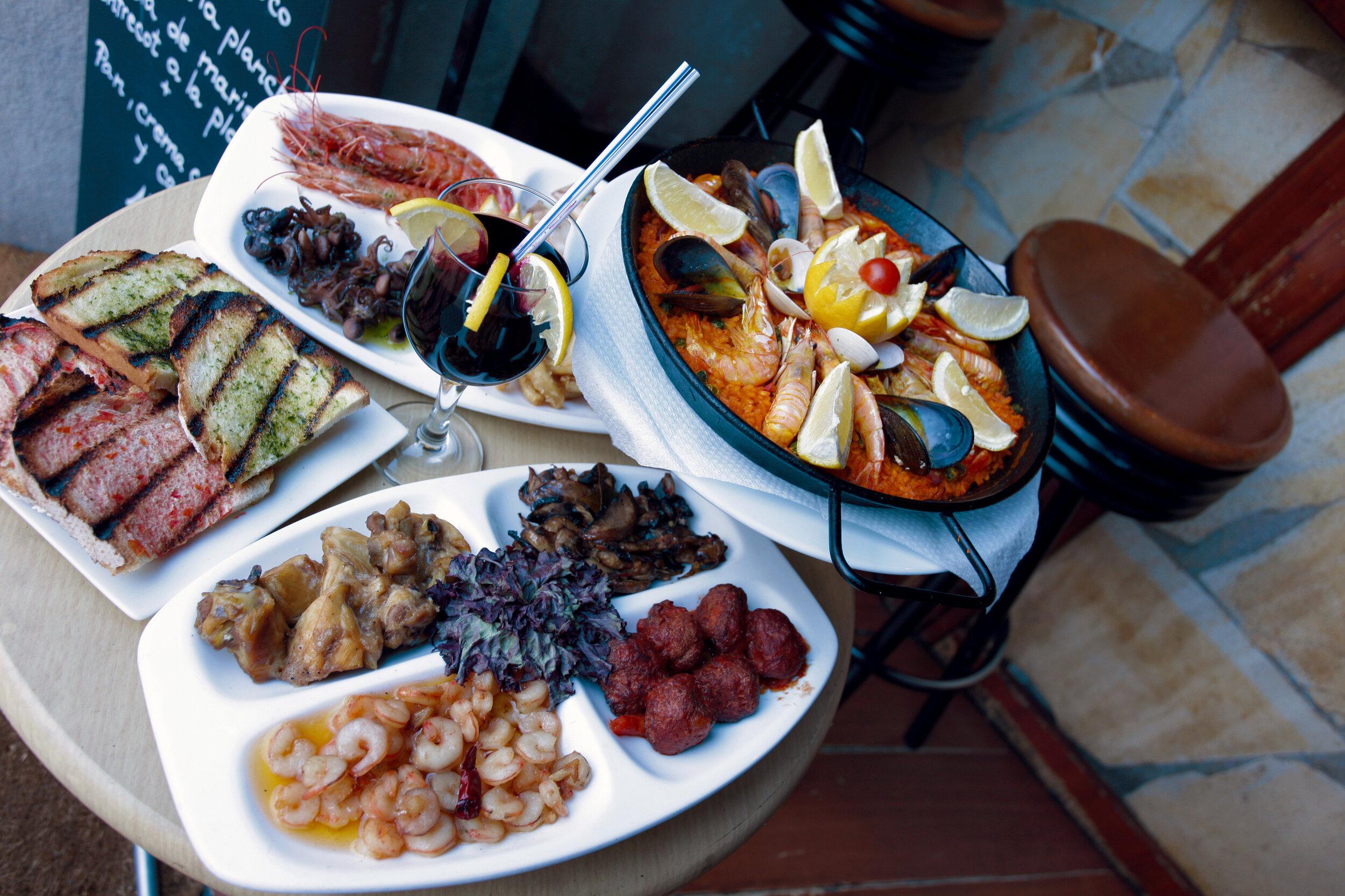 Various Valencian dishes of Valencian cuisine