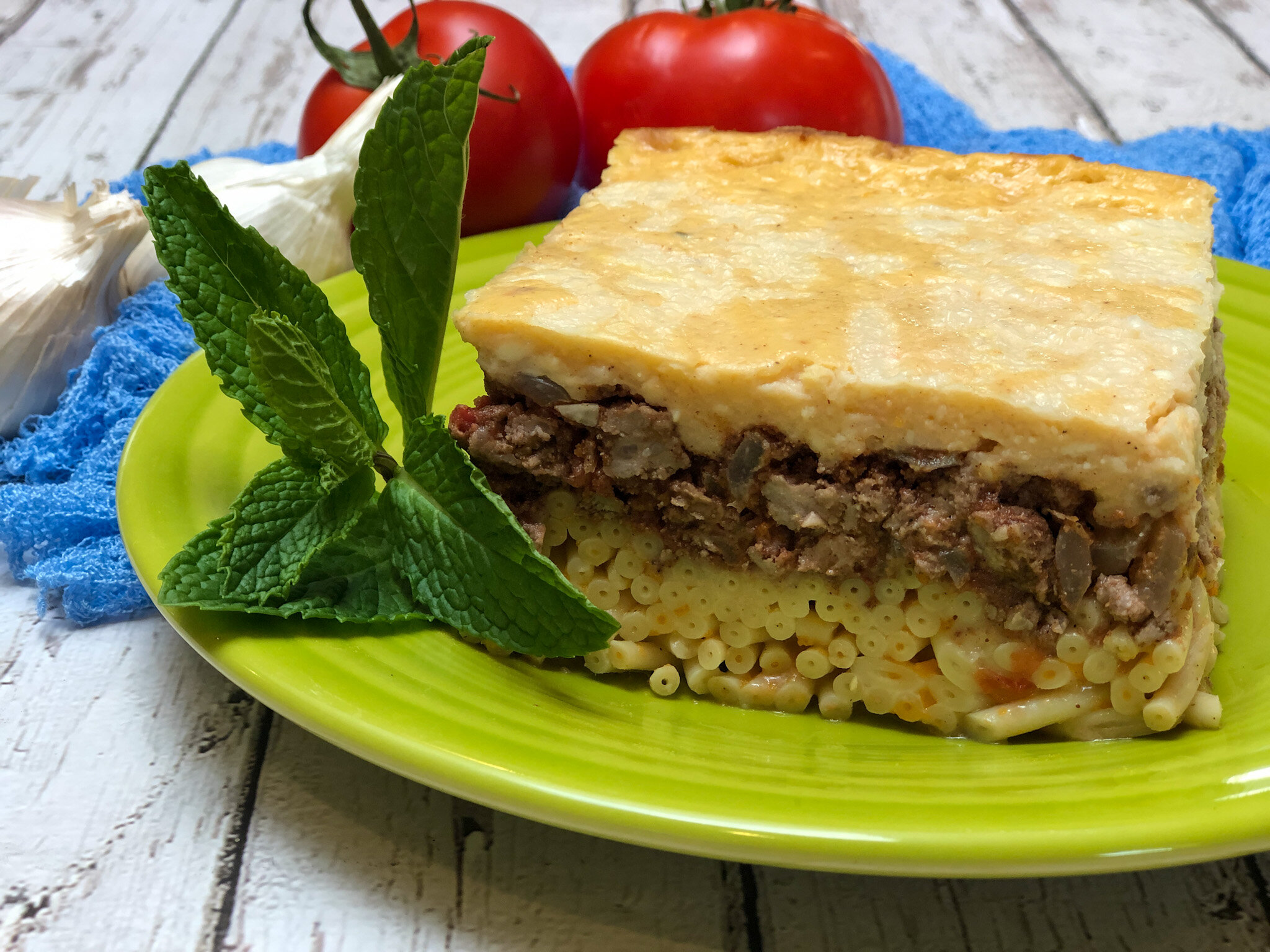 The traditional Greek dish, Pastitsio, otherwise known as, Greek lasagna