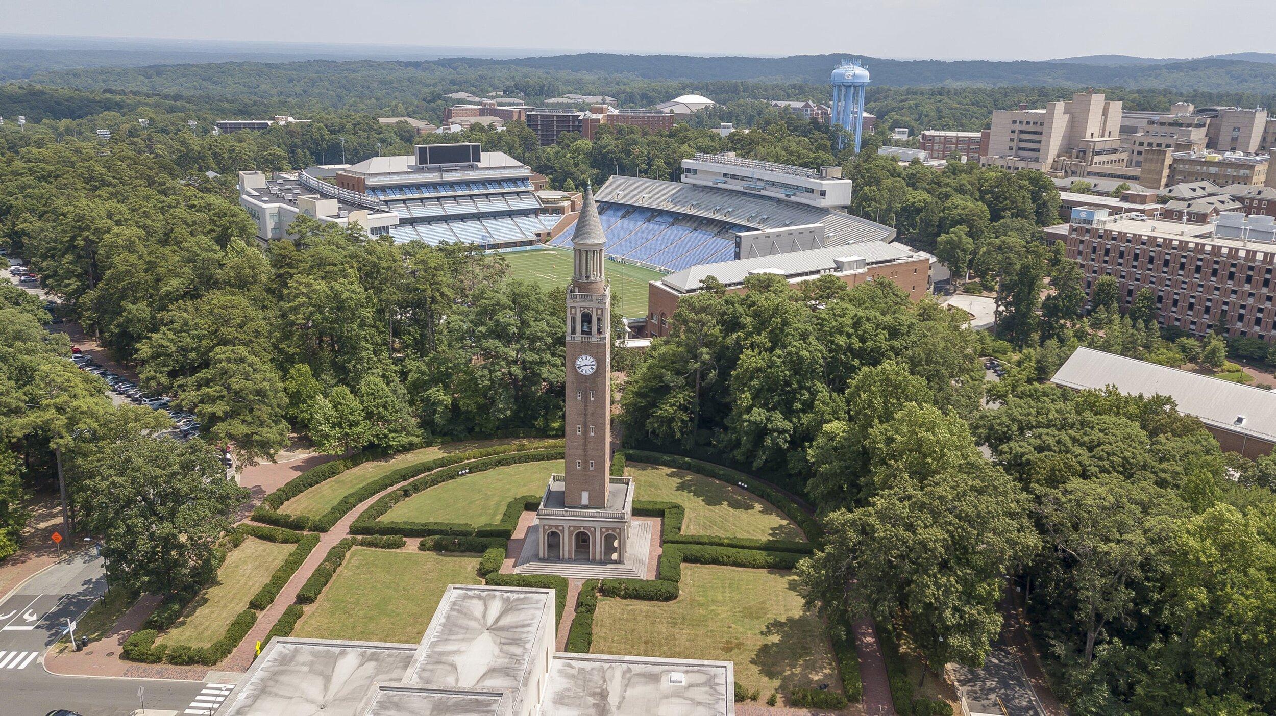 Overhead view of Chapel Hill, North Carolina