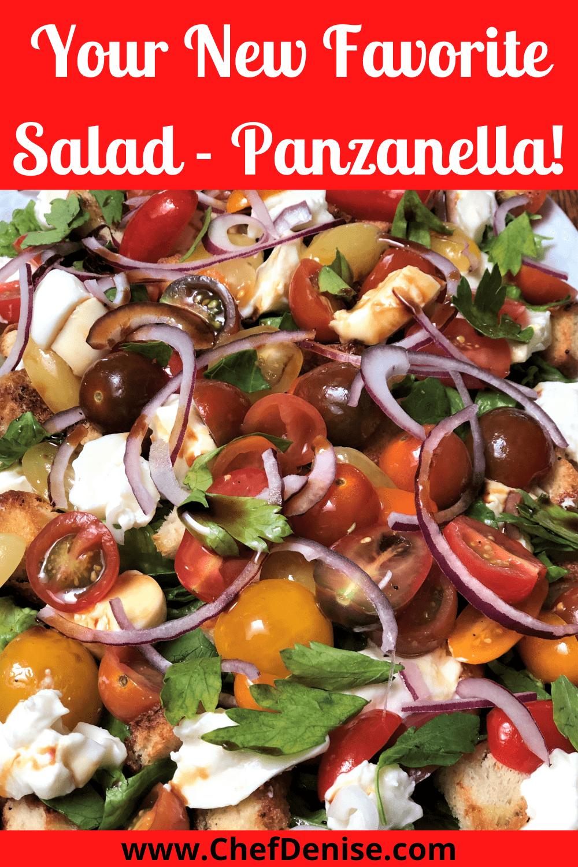 Pin for Burrata Panzanella recipe