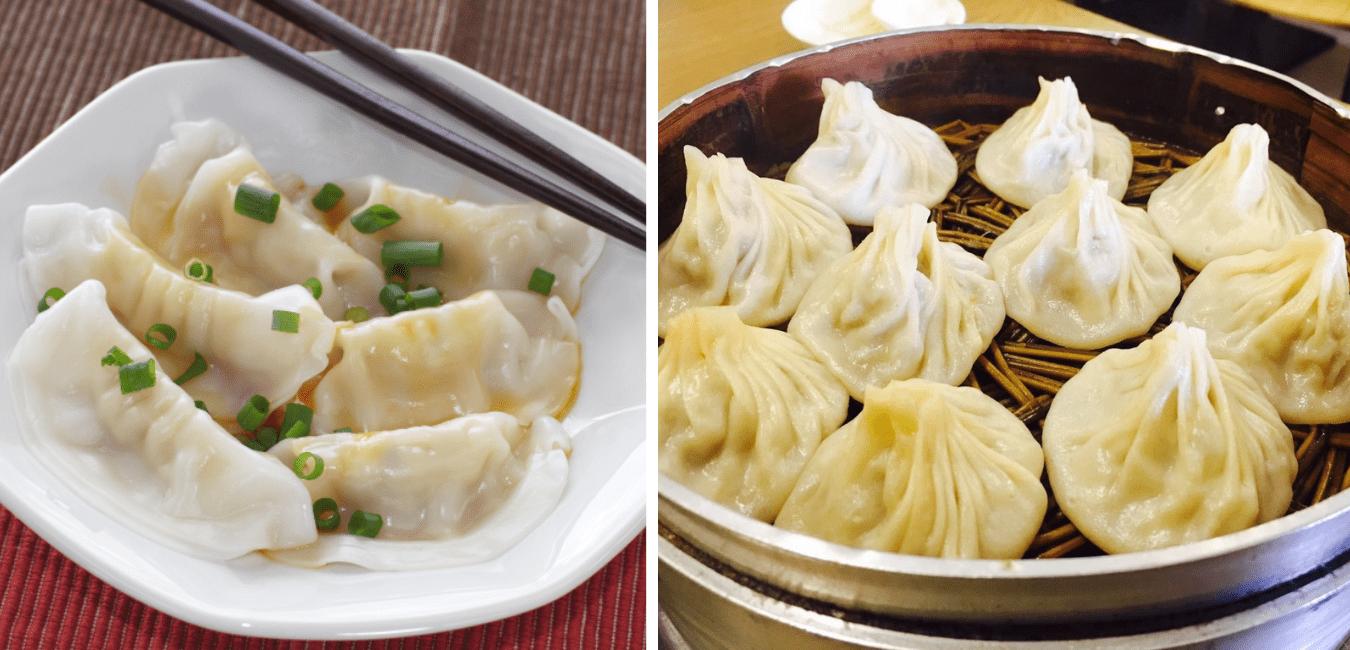 Beijing street food, Jiaozi and Baozi (Dumplings and Steamed Buns).