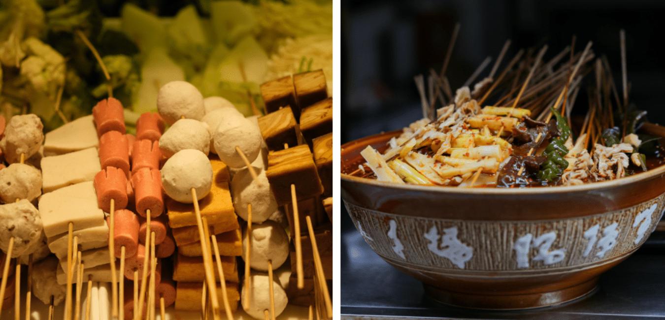 Skewers to make Beijing street food, Malatang (Spicy Soup).