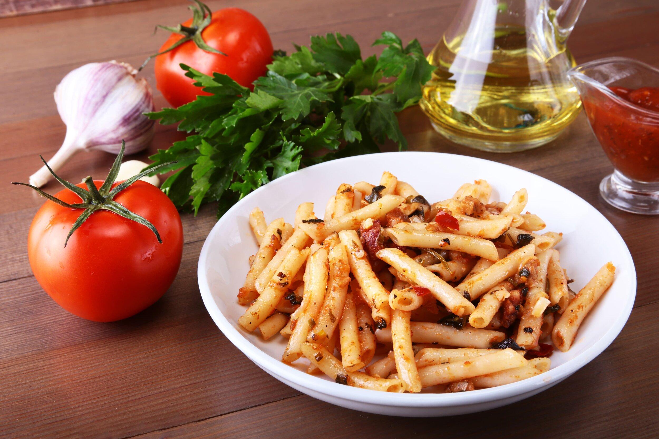 Spicy vegan Italian pasta, Penne all-Arrabbiata