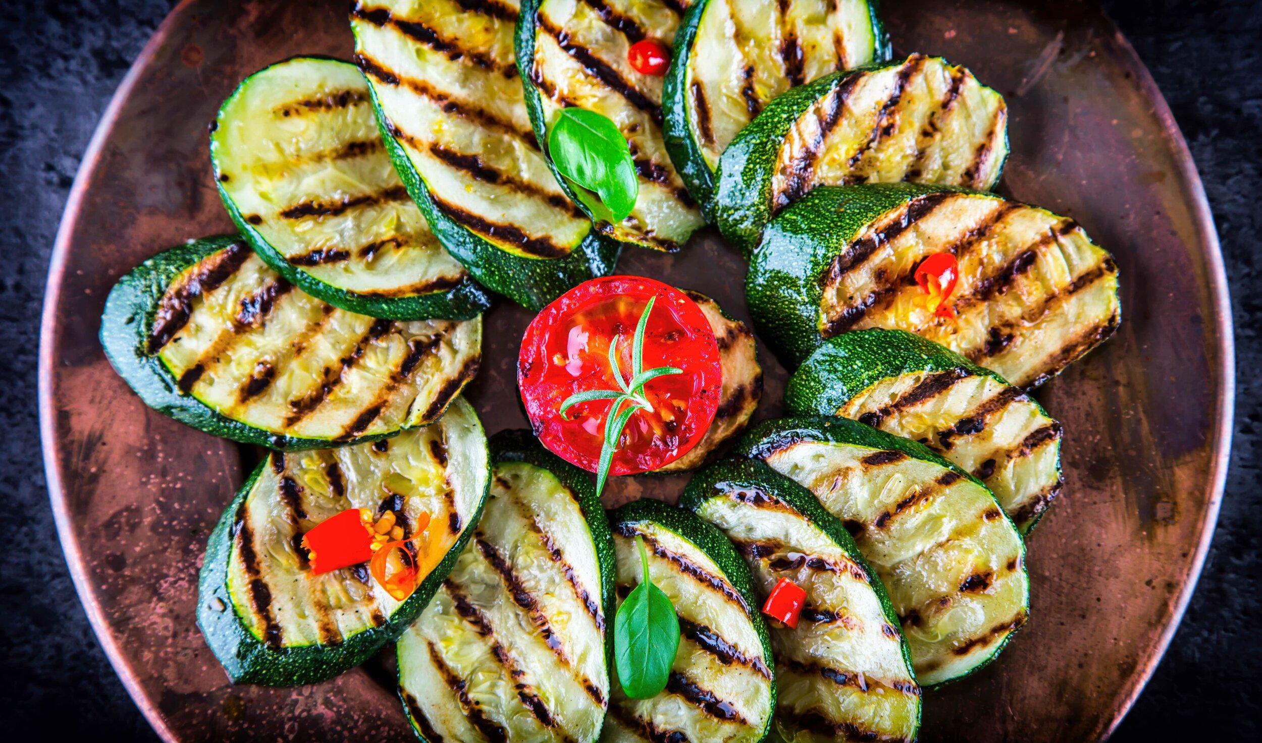 Simple Italian vegan dish of grilled zucchini