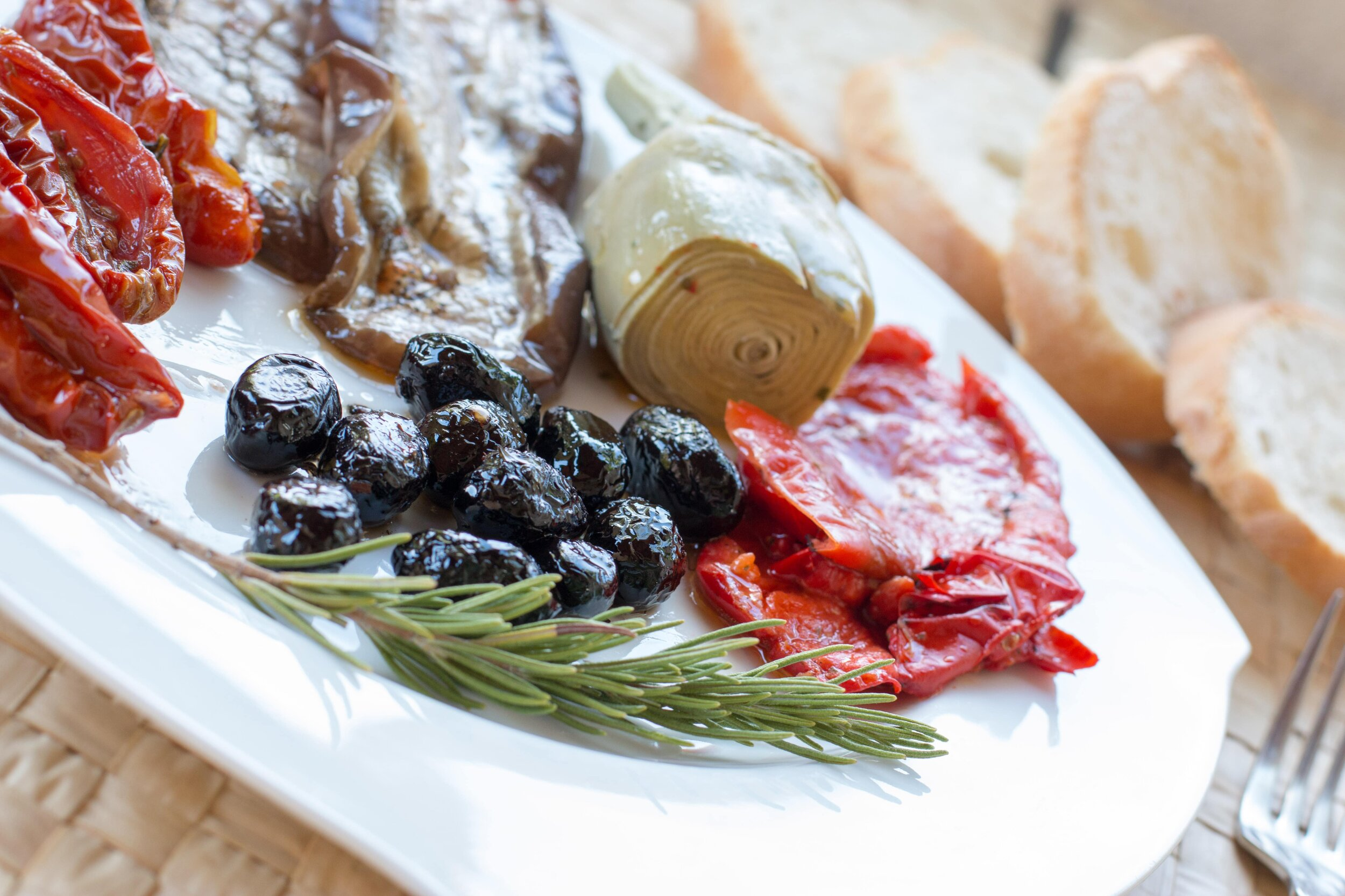 Vegan antipasti at vegan Italian restaurant