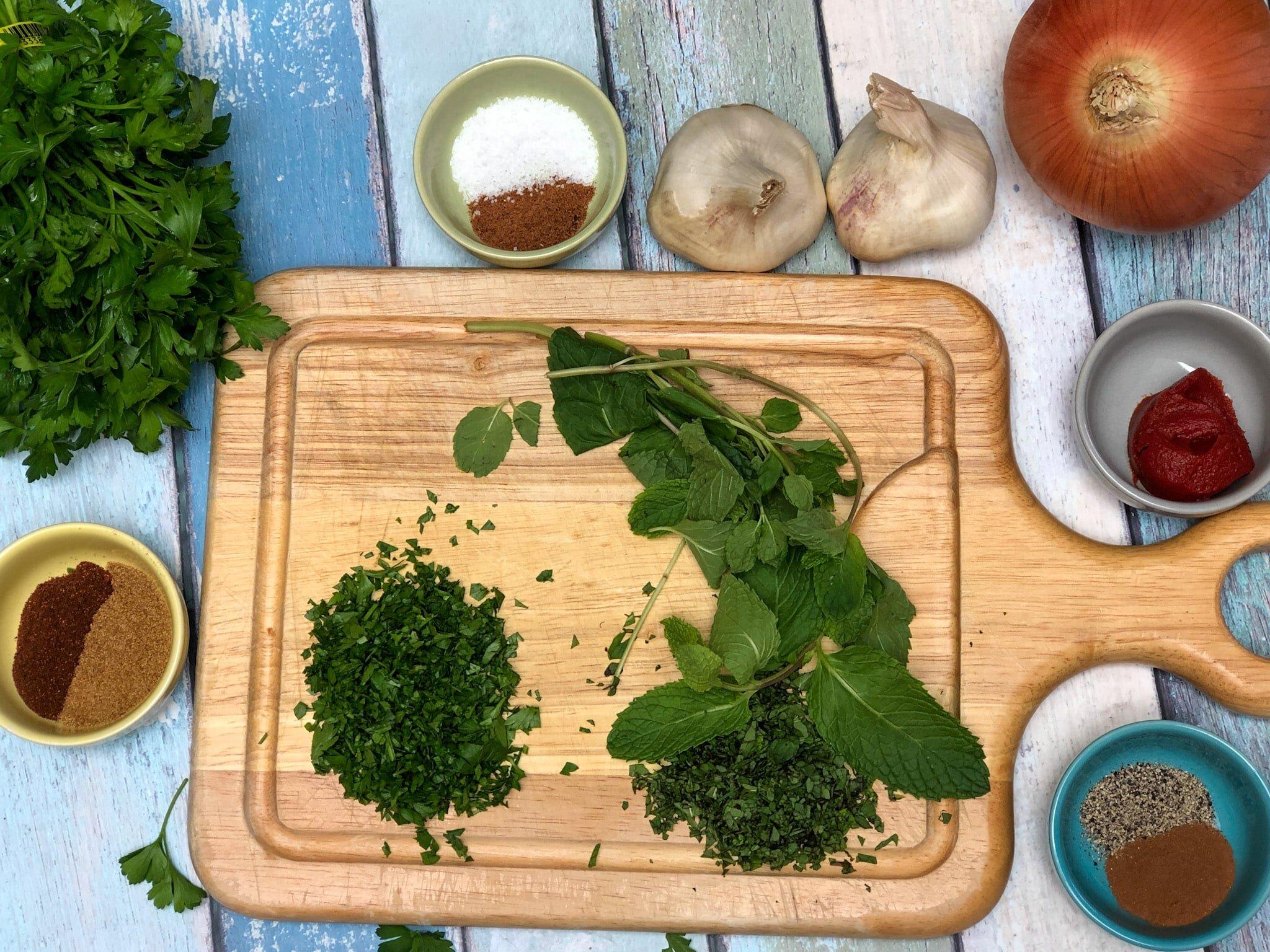 Prepped ingredients to make this Urfa Kebab recipe