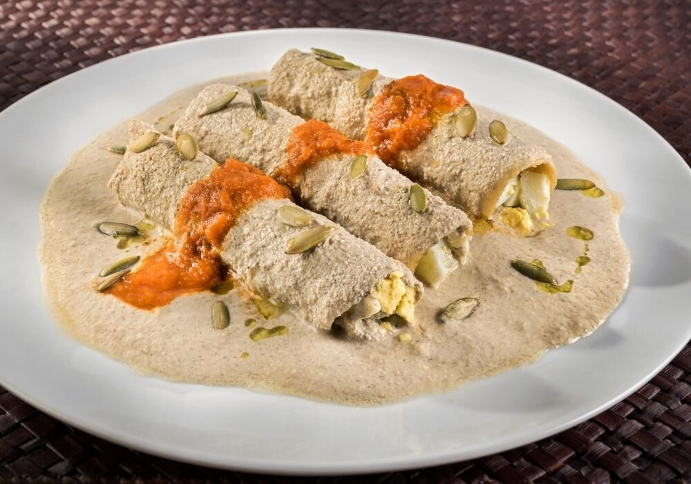 The Yucatan vegetarian dish, Papadzules, are one of the most ancient Mayan food dishes.