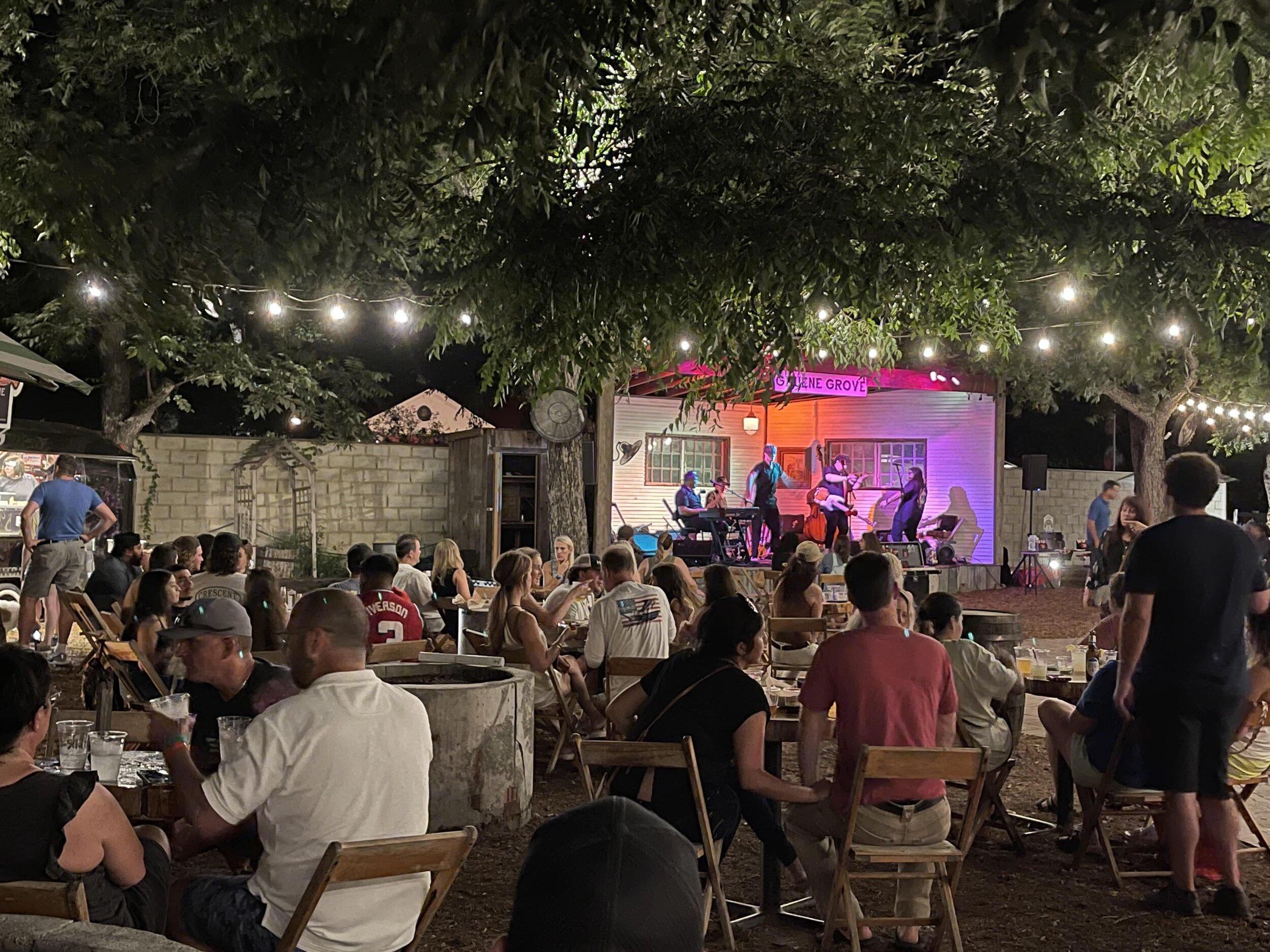 People listening to music at Gruen Grove