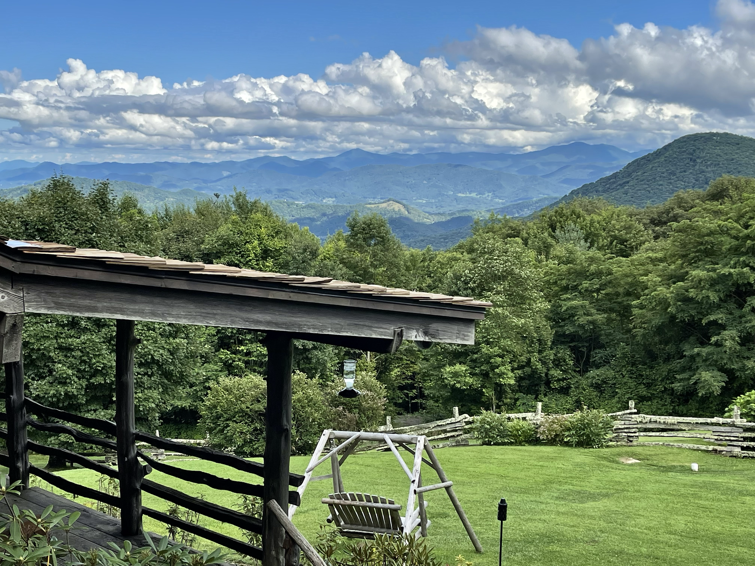 View of the Great Smoky Mountains from our balcony at The Swag, NC