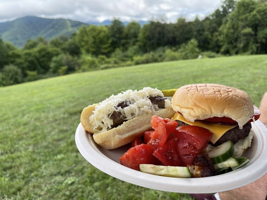Bison Burger for lunch at the Swag picnic