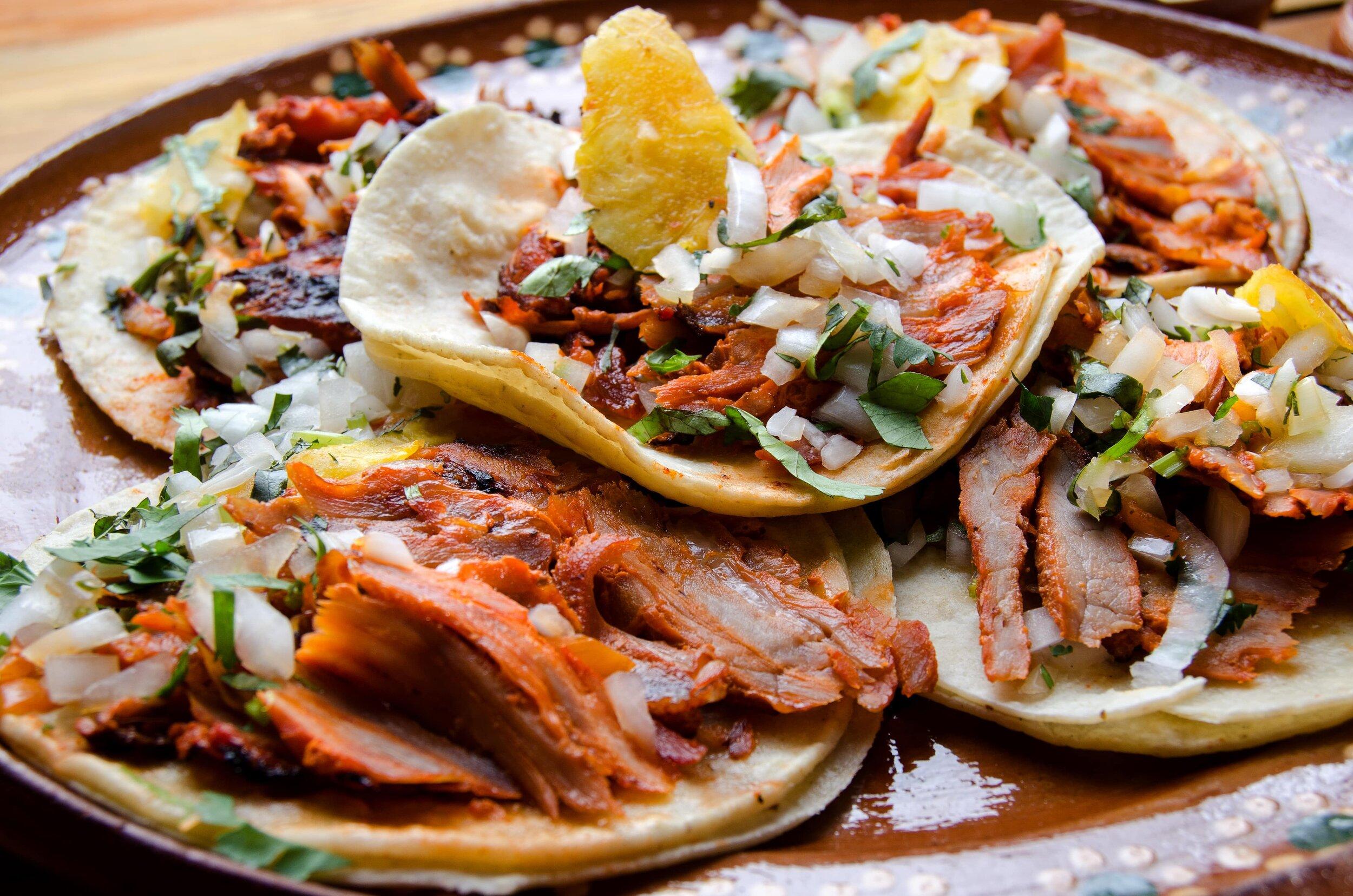 The King of Mexico City street food, tacos al pastoe.