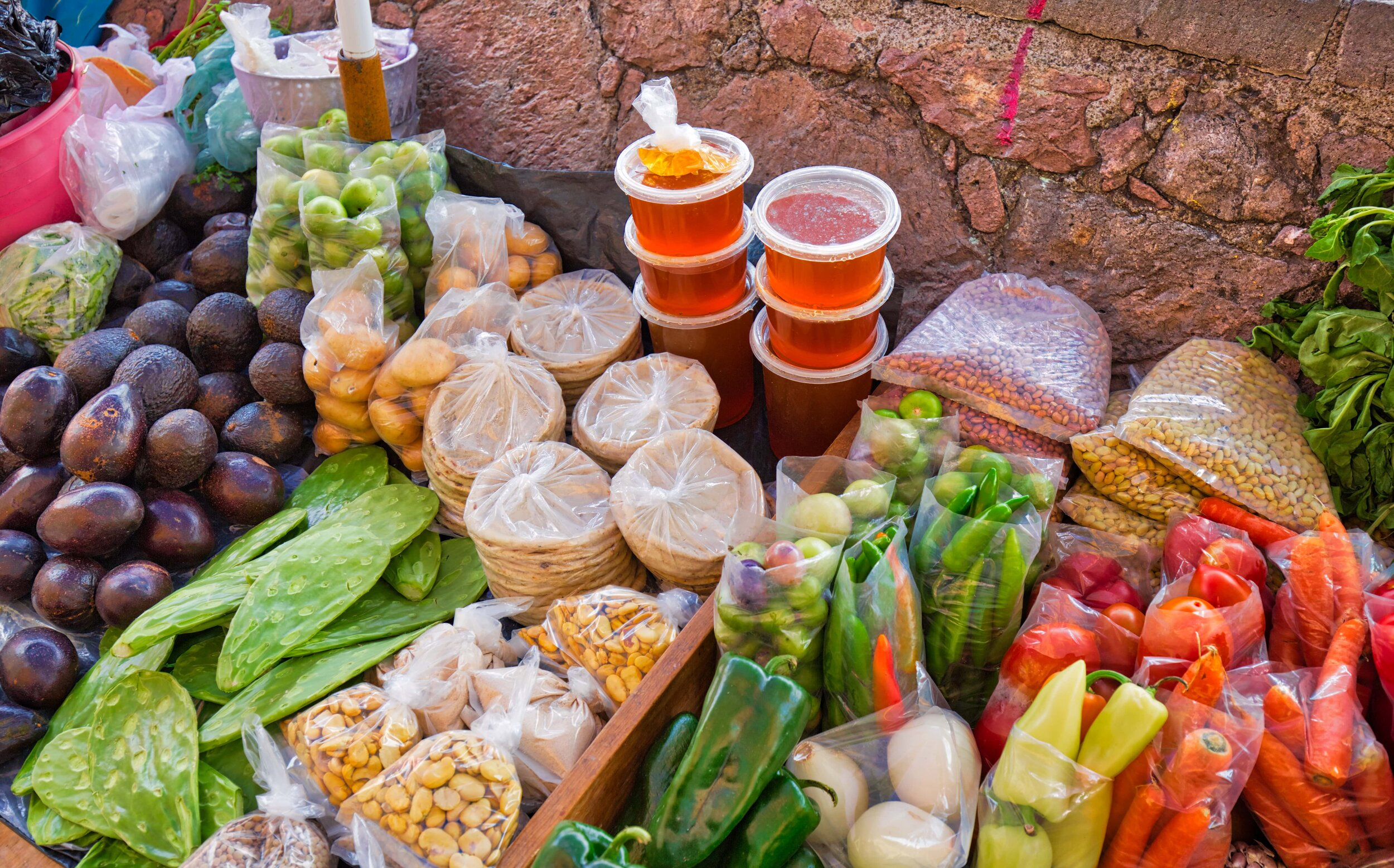 Mexican staples at a food market Mexico City.