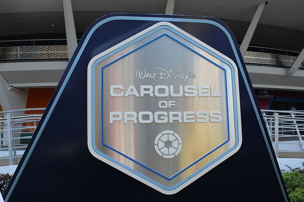 Today's attraction signage in front of the Carousel of Progress at the Magic Kingdom in Walt Disney World.