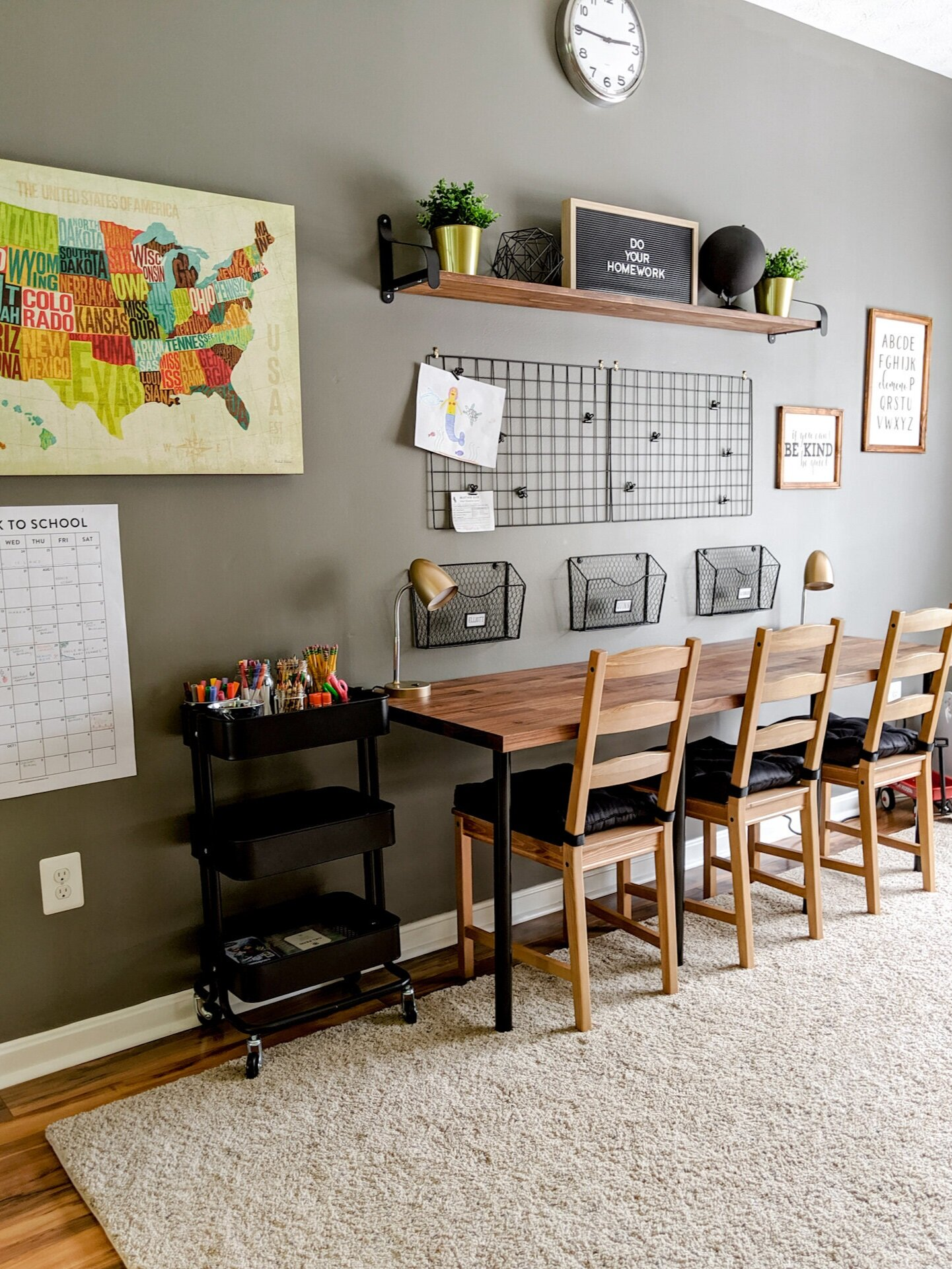 Our new homework station is just the space our kids needed to get their homework done.