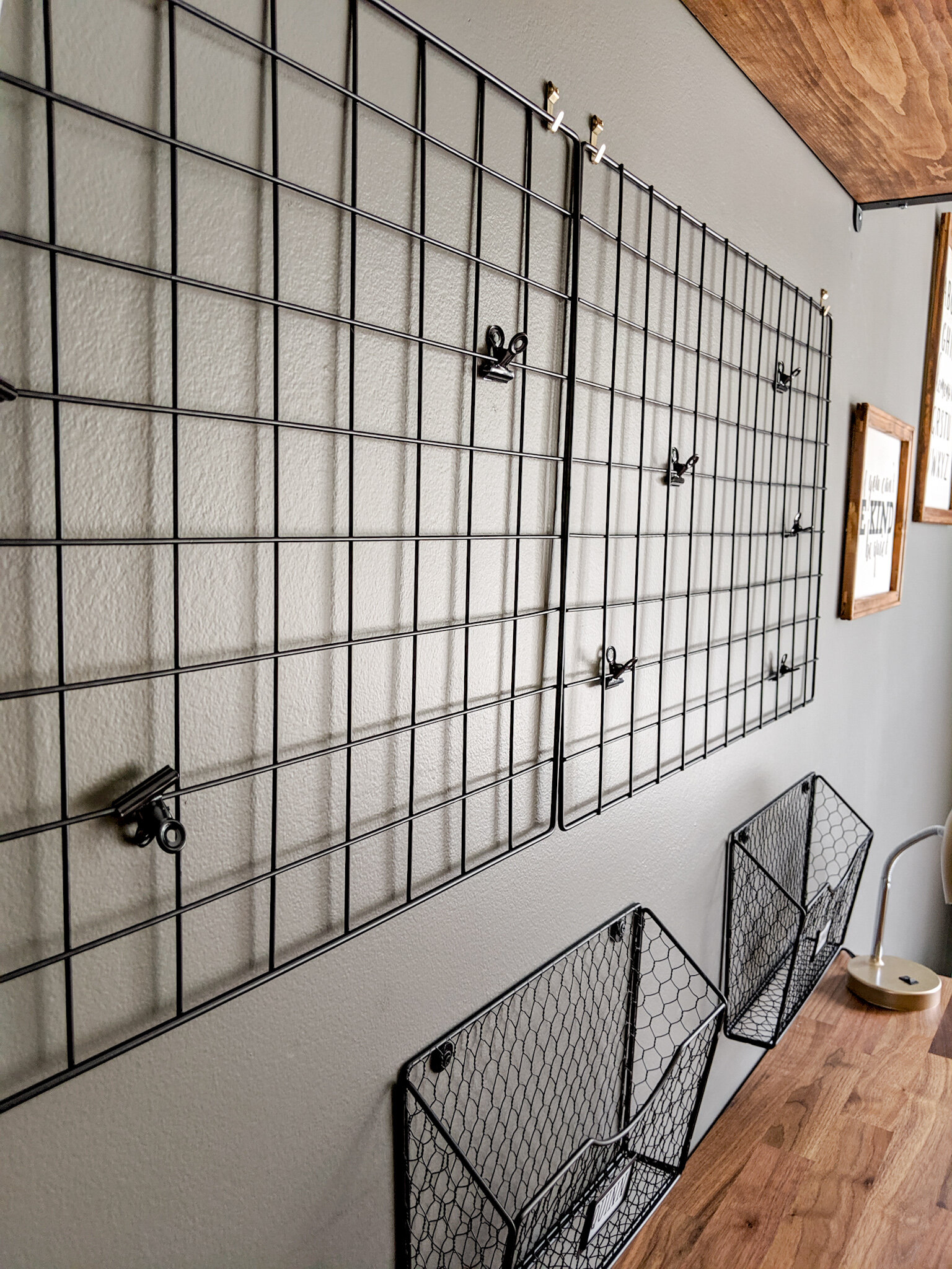 The wall grid and baskets at the homework station will display completed work.