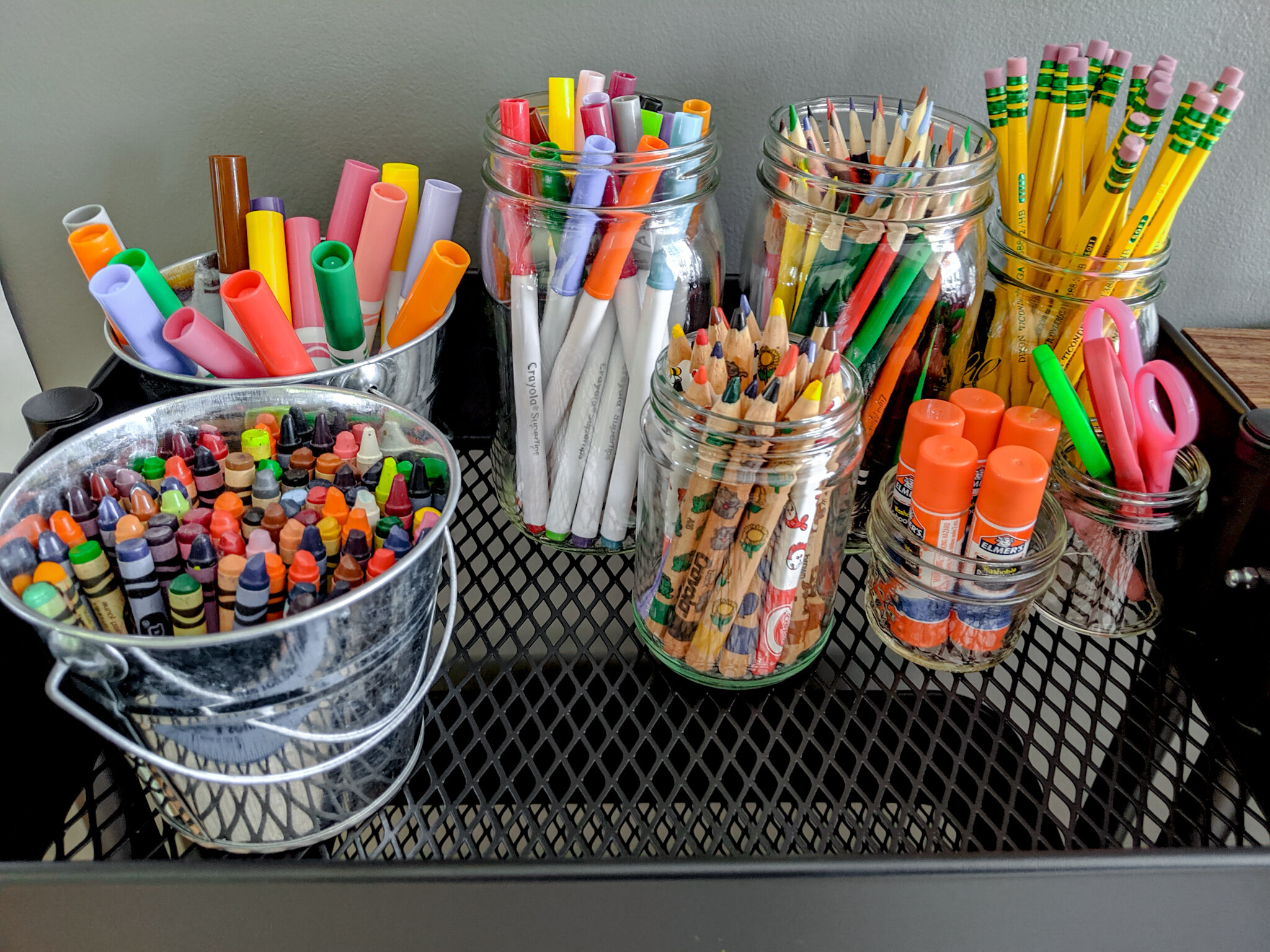 Using just what we had on hand, this cart is full of everything you could possibly need to do your homework!