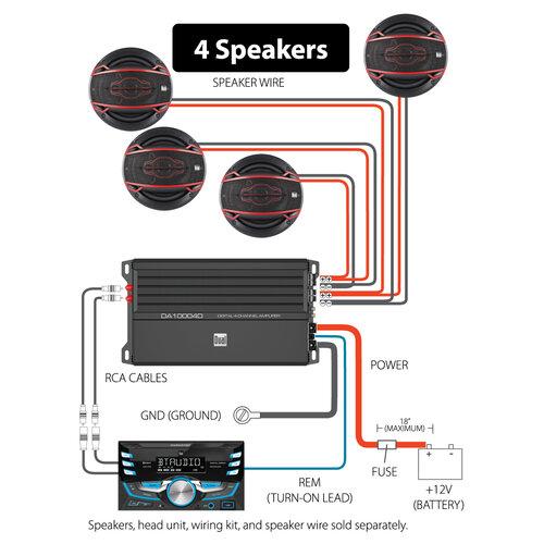 Digital 4 Channel Mosfet Amplifier, Dual Amp Wiring Diagram