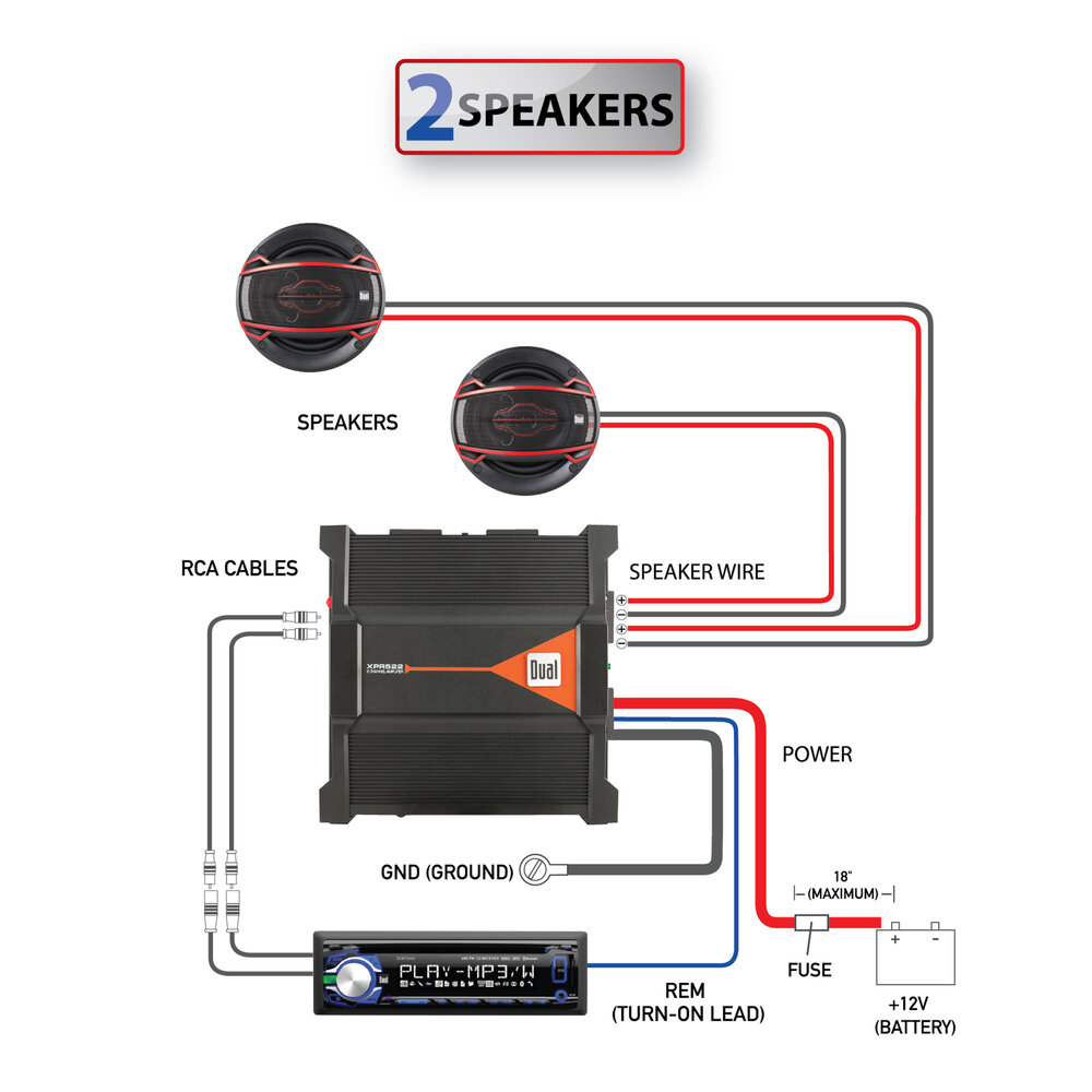 2/1 Channel MOSFET Powerd Amplifier - XPR522 — Dual Electronics Corporation | Speaker Amp Wiring Diagram |  | Dual Electronics Corporation