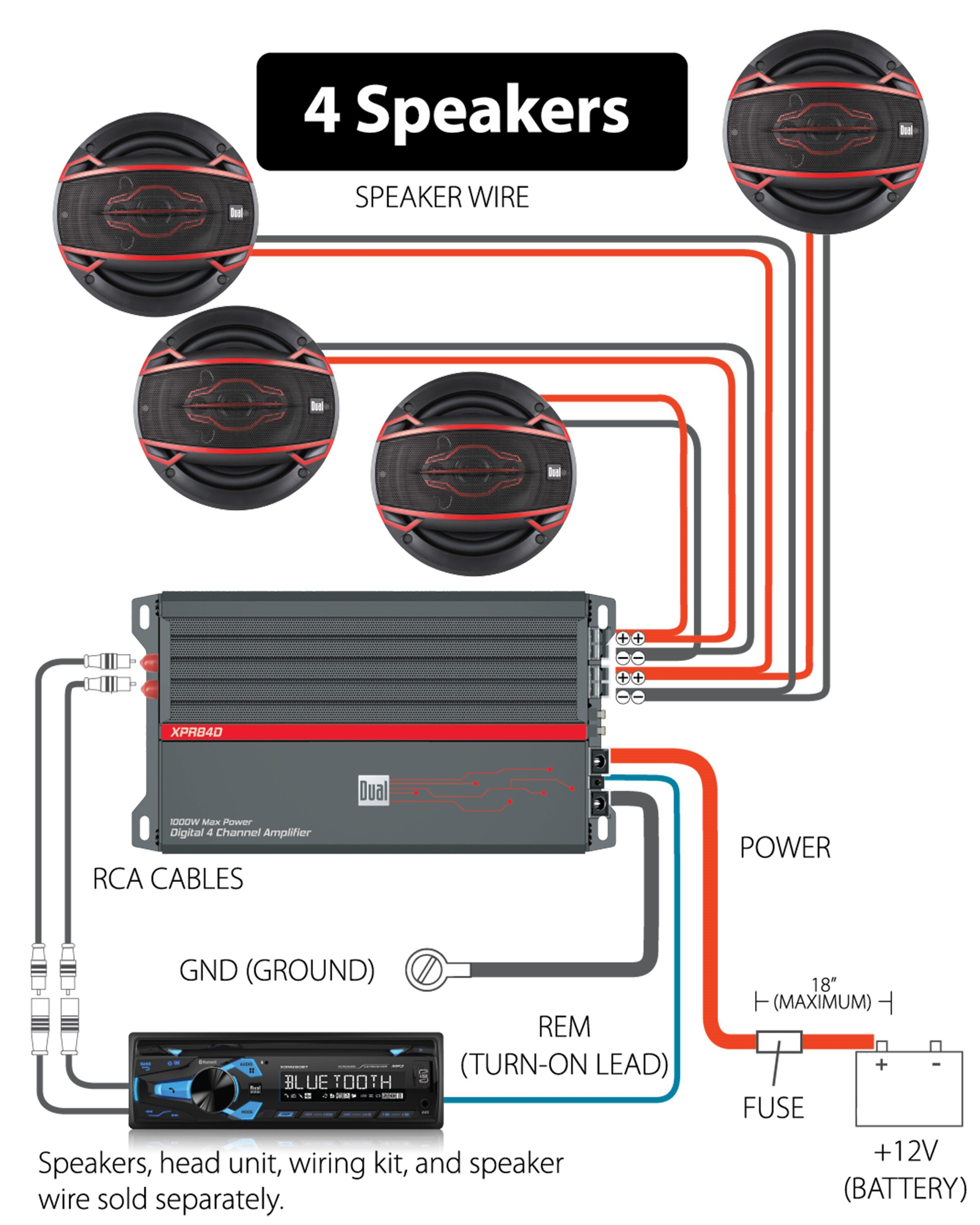 Digital 4 Channel MOSFET Amplifier - XPR84D — Dual Electronics Corporation | Speakers To Amp Wiring Diagram |  | Dual Electronics Corporation