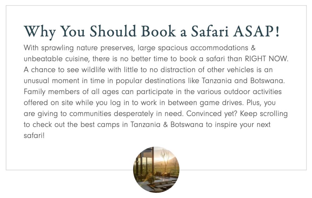 Why you should Book a Safari ASAP! — Andiamo Luxury Travel