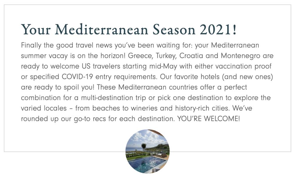 Your Mediterranean Season 2021 — Andiamo Luxury Travel