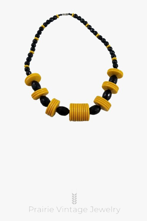 Brand New Black Agate Bead Bracelet with Antique Golden Colored Hollow Tube Bead
