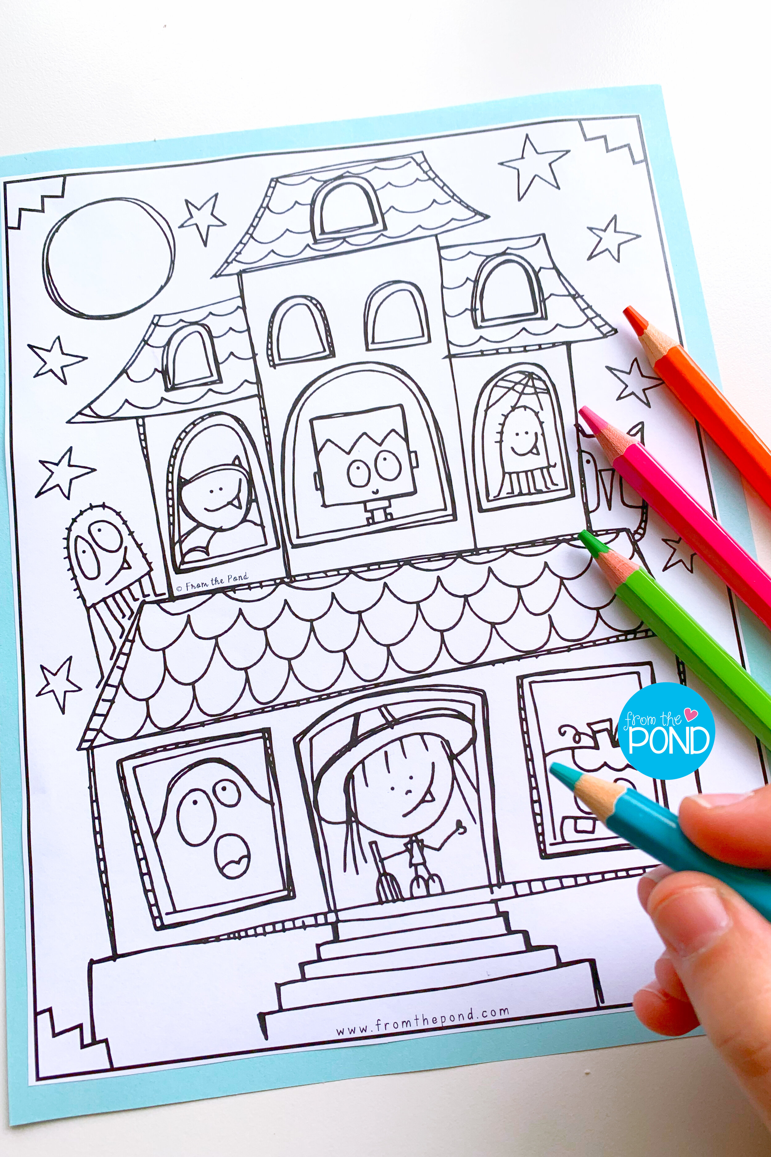 Haunted House Coloring Page Pond Coloring Club