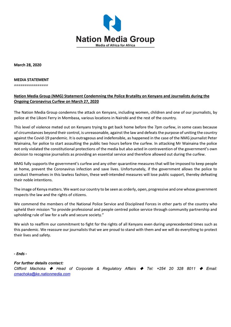 Nation statement on police brutality March 2020