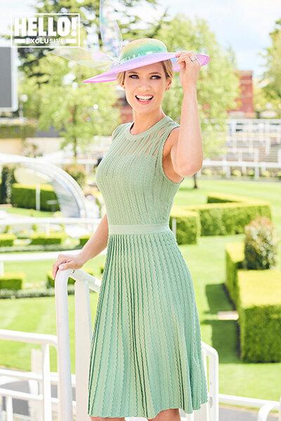 """Charlotte Hawkins wearing """"The Happiest Hat"""" in HELLO! Magazine."""