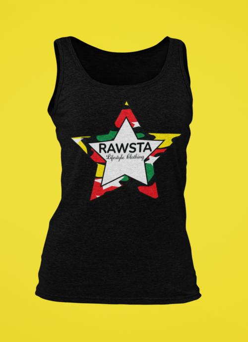 rawsta_woman_ghosted_camoflauge_star_series_tank_top_yellow_background_rawsta_lifestyle_clothing_black.png