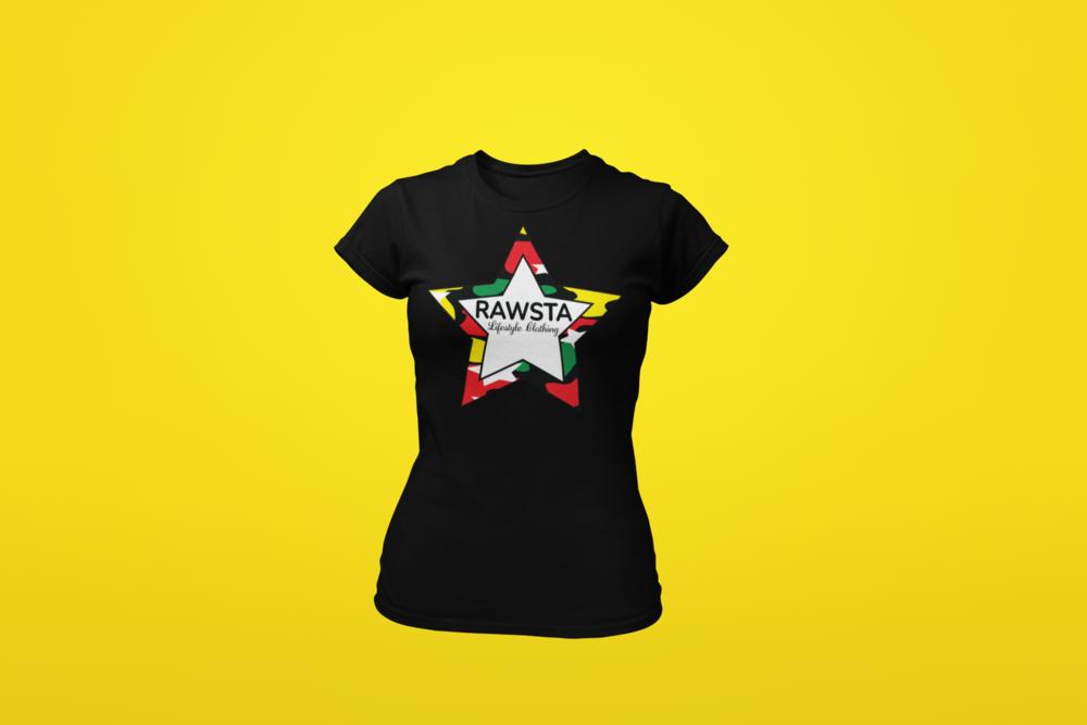 rawsta_woman_ghosted_camoflauge_star_series_t-shirt_yellow_background_rawsta_lifestyle_clothing_black.png
