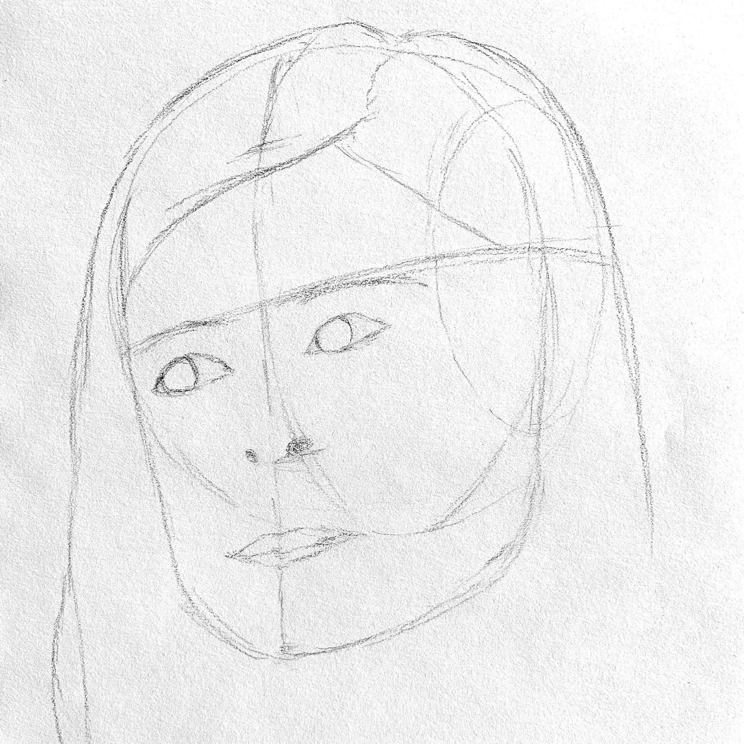 Portrait showing the under drawing of a Loomis head