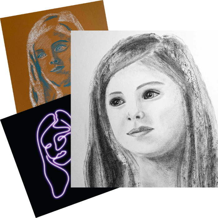 Three very different portraits of Ava by Karen. One in two colour pastels on a coloured background, one digital drawing made to look like neon and one drawn in charcoal.