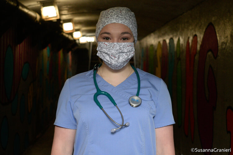 Samantha Bruno, third-year nursing student at Adelphi University in Long Island, NY, wears her scrubs given to her by Cortlandt Healthcare.