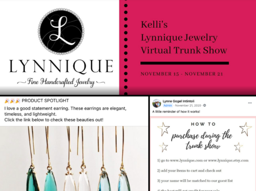 The banner from one of Intintoli's virtual trunk shows, conducted via Facebook, and some of the posts she creates from it. Intintoli reaches customers across the country from these parties. Photos courtesy of Intintoli.